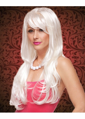 Tousled Long White Wig with Bangs Carmen