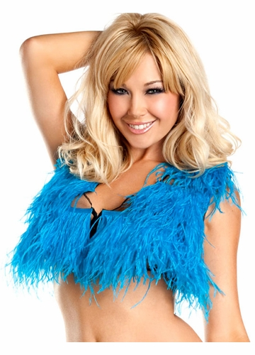 Turquoise Ostrich Feather Top
