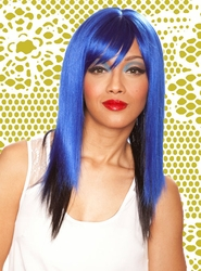 Two Tone Blue/Black Layered Wig Jewel with Side Swept Bangs