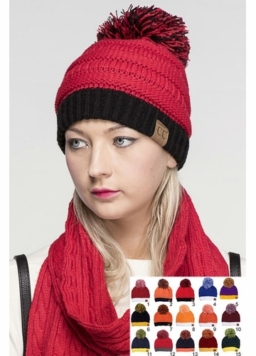 Two Tone College Color CC Beanie Hat