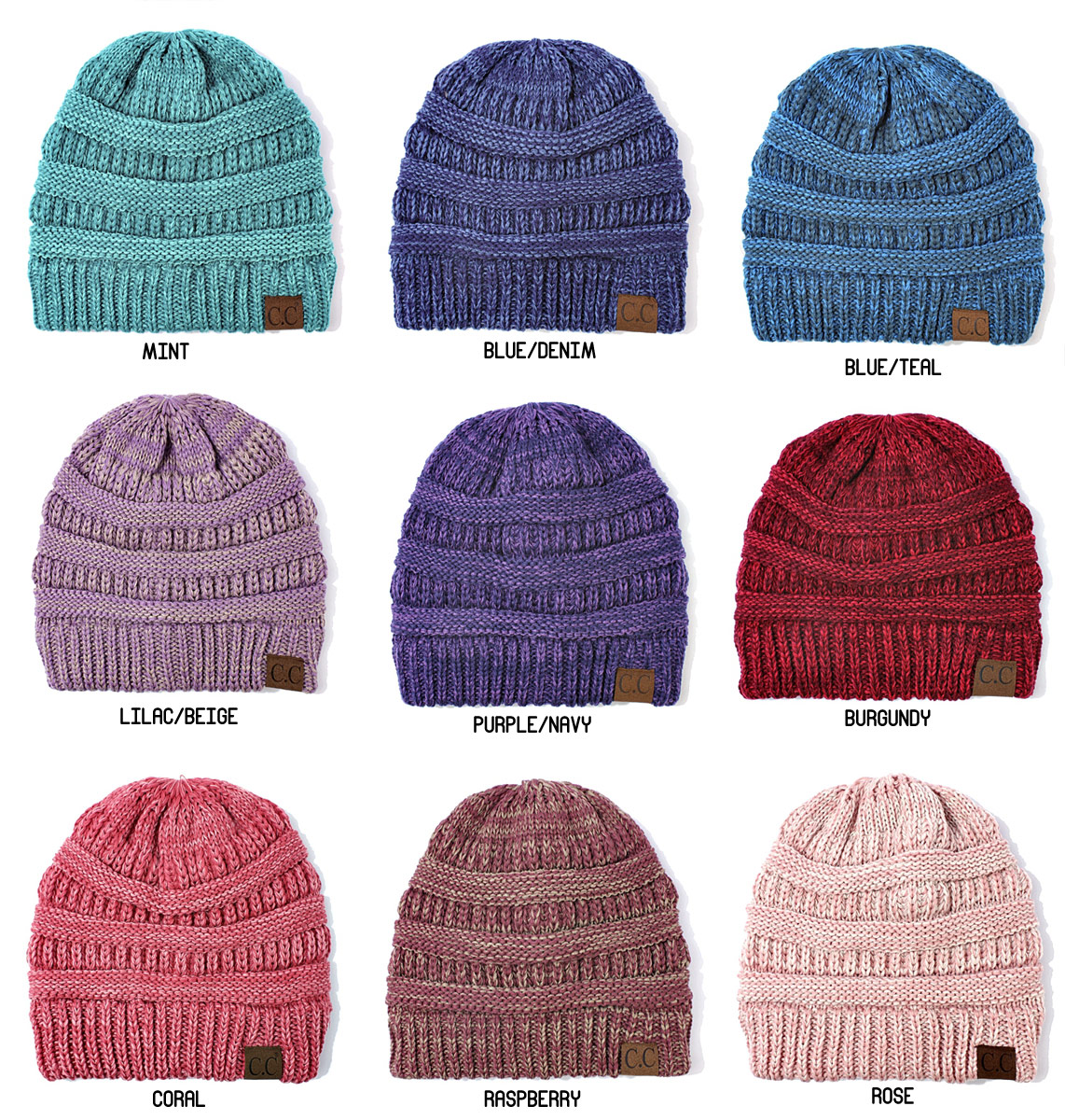 0a7330ffcaf Two Tone Knit Beanie Hat from CC Brand inset 1 ...