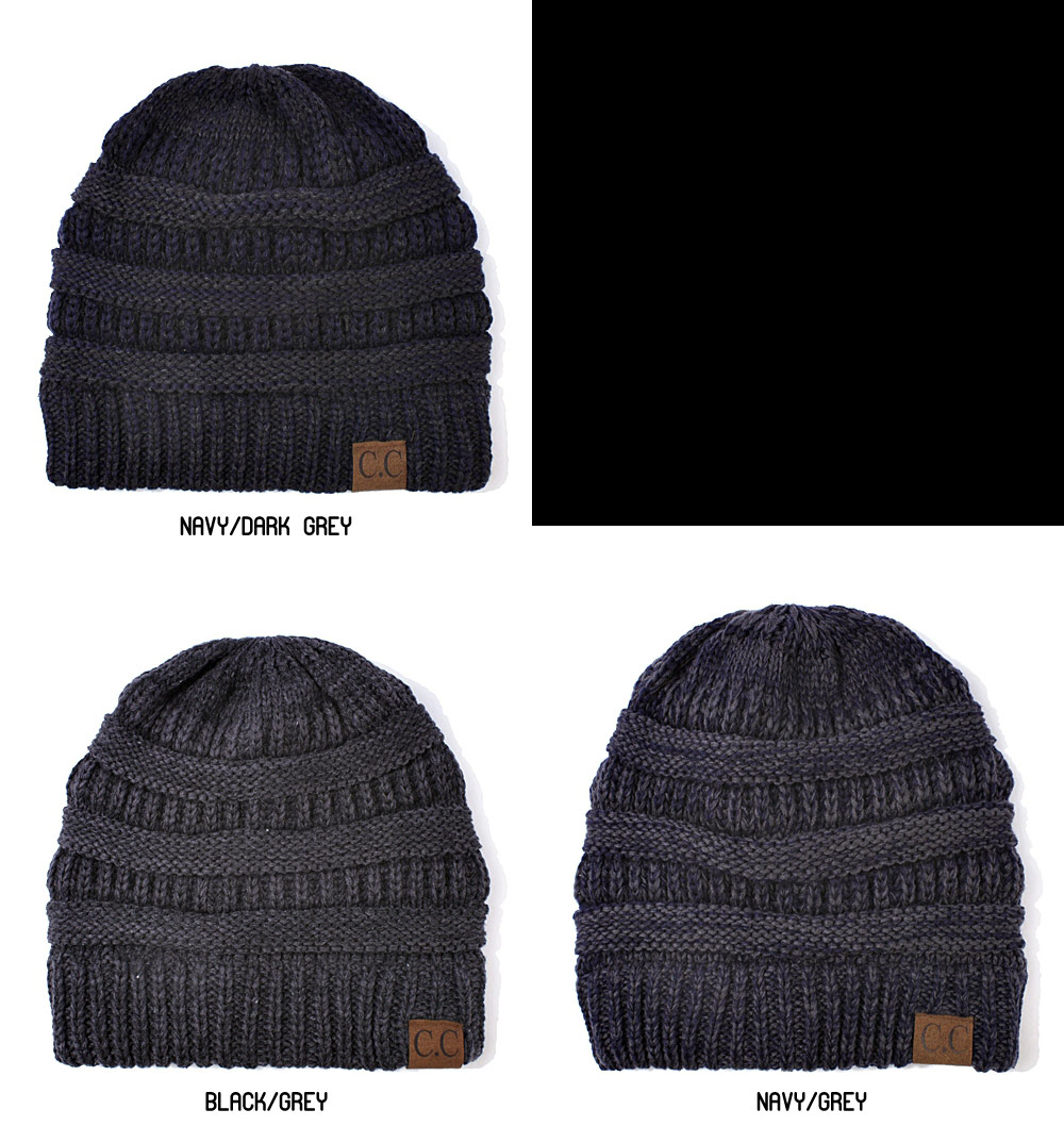 Two Tone Knit Beanie Hat From Cc Brand