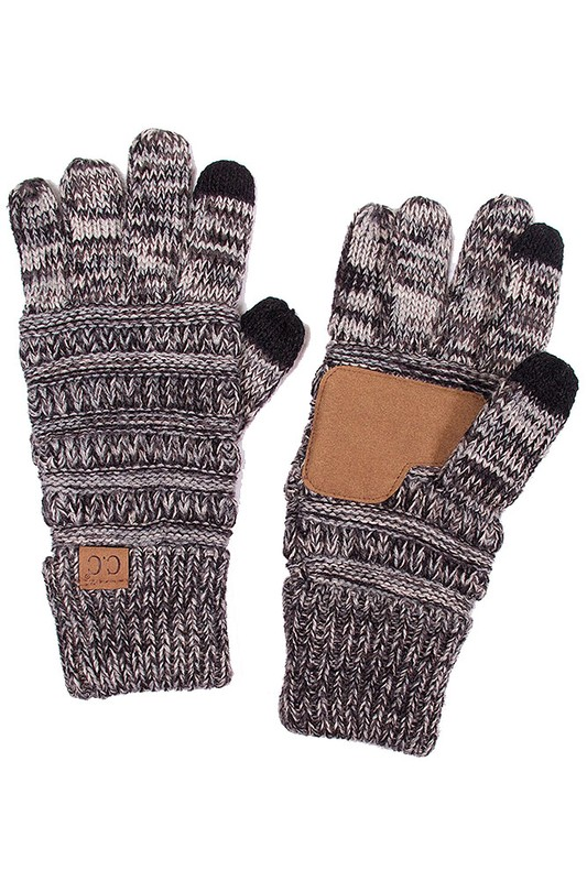 Two Tone Knit Gloves From Cc Brand