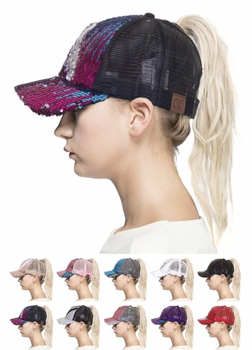 Two Tone Sequin Ponytail Baseball Hat from CC Brand