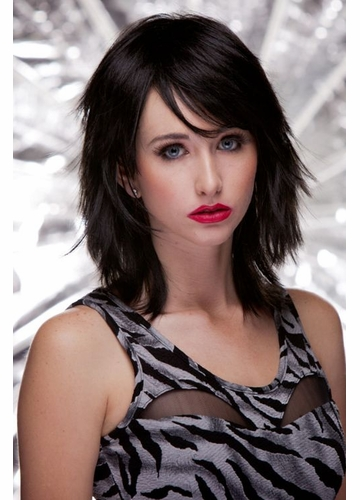 Vamp Shoulder Length Wig Kharma in Onyx Black