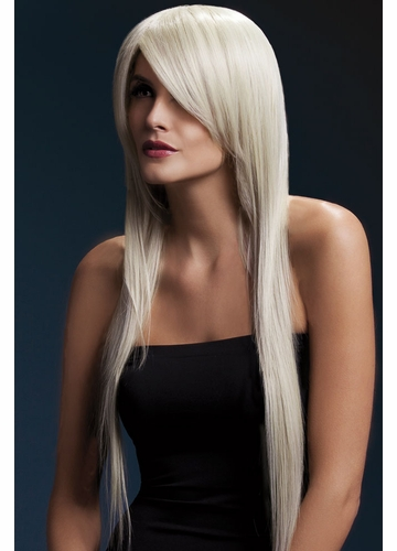 Very Long Straight Wig Amber with Side Swept Fringe in Blonde