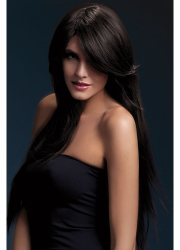 Very Long Straight Wig Amber with Side Swept Fringe in Brown