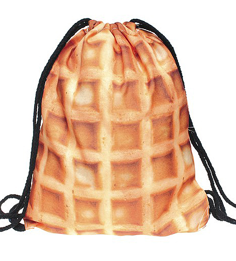 eeb7aeeb4bbf Waffle Photo Print Drawstring Backpack