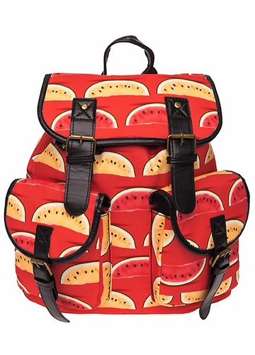 Watermelon Print Canvas Backpack from Zohra