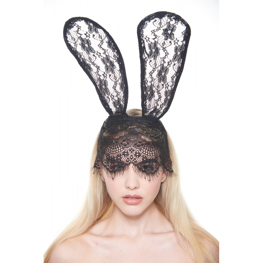 Whimsical Lace Mask and Bunny Ears
