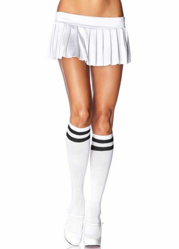 White Athletic Knee Highs with Black Stripe