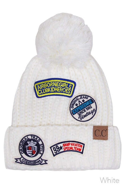 23e62b7832bcd White CC Knit Beanie Hat with Patches