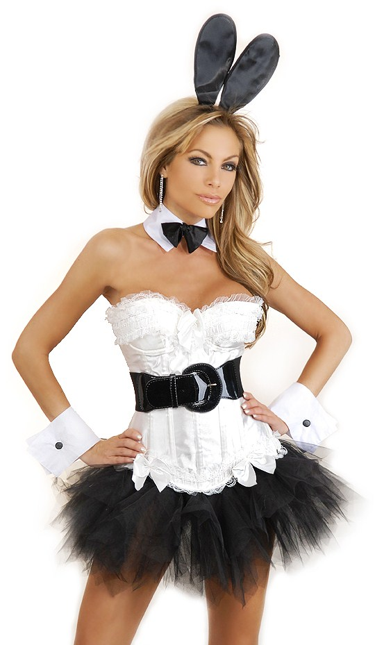 White Corset Bunny 6 Piece Costume