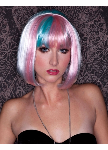 White,  Pink and Blue Cindy Wig with Bangs (Angel Breath)