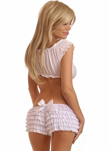 White Ruffle Shorts with Bow Accents