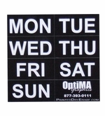 Day of the Week Magnets - 1 inch tall