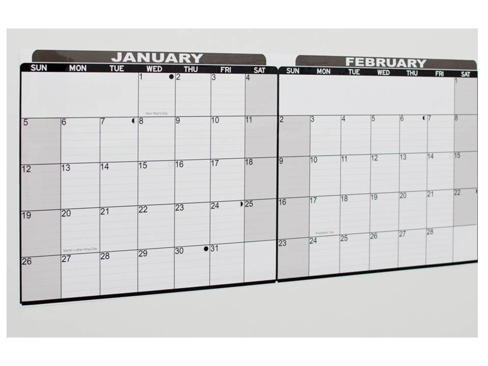 Dry Erase Full Year Calendar Decal