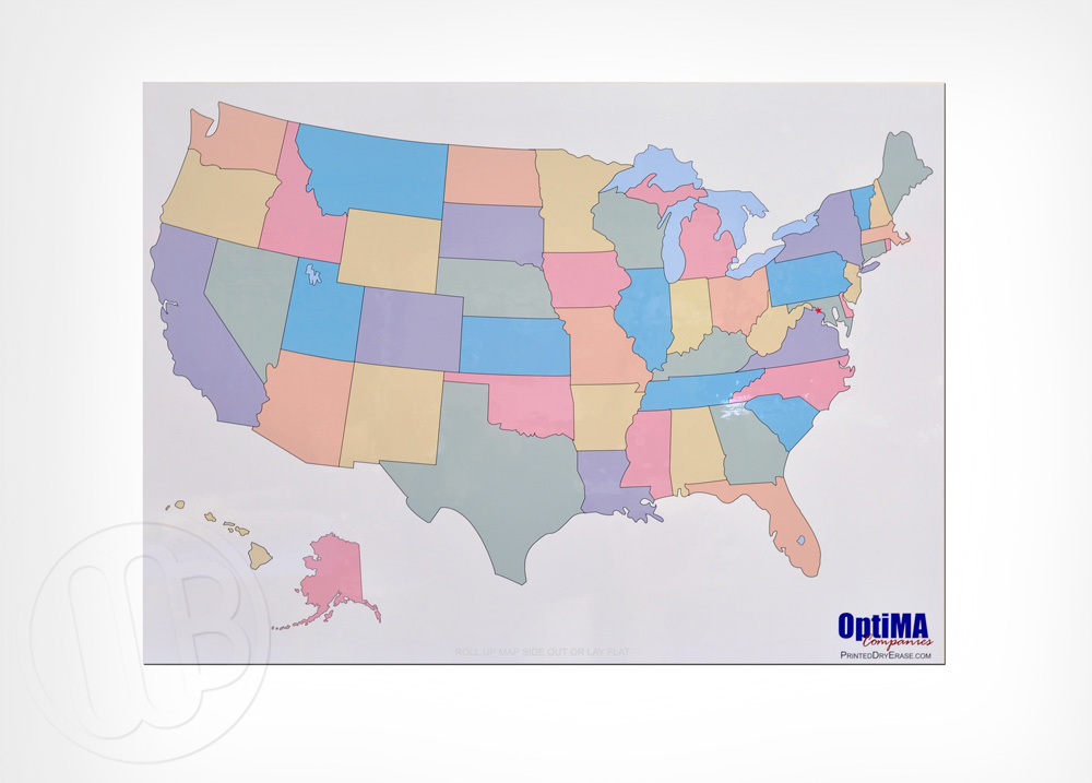 Dry Erase Map Magnet From OptiMA - Us map dry erase