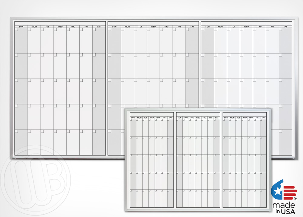 Magnetic Three Month Dry Erase Calendars
