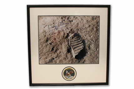 Buzz Aldrin Footprint on the Moon Autographed Picture