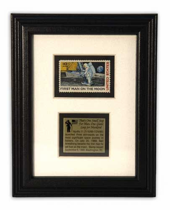 Framed First Man on Moon Stamp