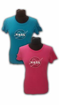 Womens T-Shirt Official NASA Meatball Logo Teal or Pink