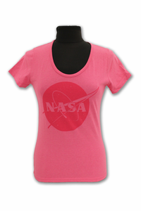 Ladies T-Shirt Renew NASA Meatball Logo Pink