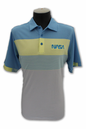 Mens Polo Antigua NASA Worm Logo Blue and Yellow