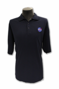 Mens Antigua Polo Official NASA Meatball Navy
