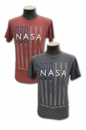 Mens T-Shirt NASA American Flag Choice of Navy or Burgandy
