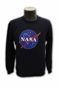 Mens Sweatshirt Official NASA Meatball Logo Crew Navy or Gray
