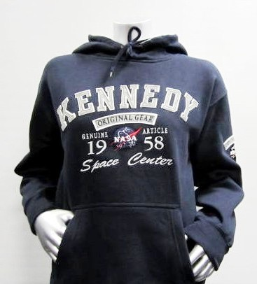Mens Hooded Sweatshirt Official NASA Original Gear 1958 Navy