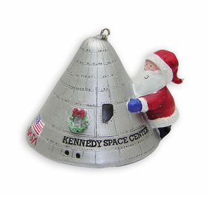 Santa with Apollo Capsule Ornament