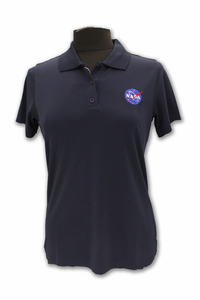 Womens Antigua Polo Official NASA Meatball Logo Navy