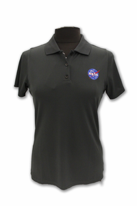 Womens Antigua Polo Official NASA Meatball Logo Smoke