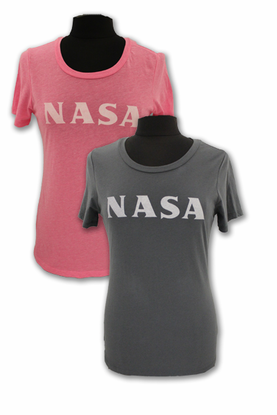 Womens T-Shirt NASA Techstyles Scoop Neck Charcoal or Pink