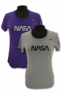 Womens T-Shirt NIKE Dri-Fit NASA Choice of Gray or Purple