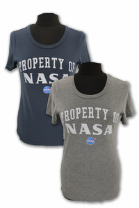 Womens T-Shirt Property NASA Techstyles Scoop Neck Gray or Navy