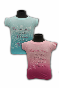 Kids T-Shirt Love You to the Moon Plum or Aqua