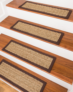 Beach Seagrass Carpet Stair Treads - Espresso