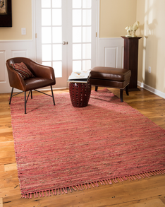 Concepts Jute Leather Rug w/ FREE Rug Pad