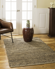 Cosmo Jute/Leather Rug w/ FREE Rug Pad