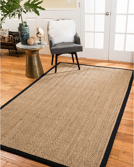Four Seasons Seagrass Rug, Black w/ FREE Rug Pad