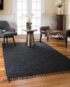 Limassol Leather Rug, Black w/ FREE Rug Pad