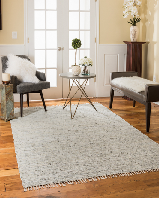 Limassol Leather Rug, Gray w/ FREE Rug Pad