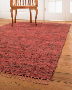 Limassol Leather Rug, Red w/ FREE Rug Pad