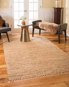 Limassol Leather Rug, Wood w/ FREE Rug Pad