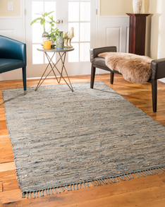 Marion Leather Jute Rug w/ FREE Rug Pad