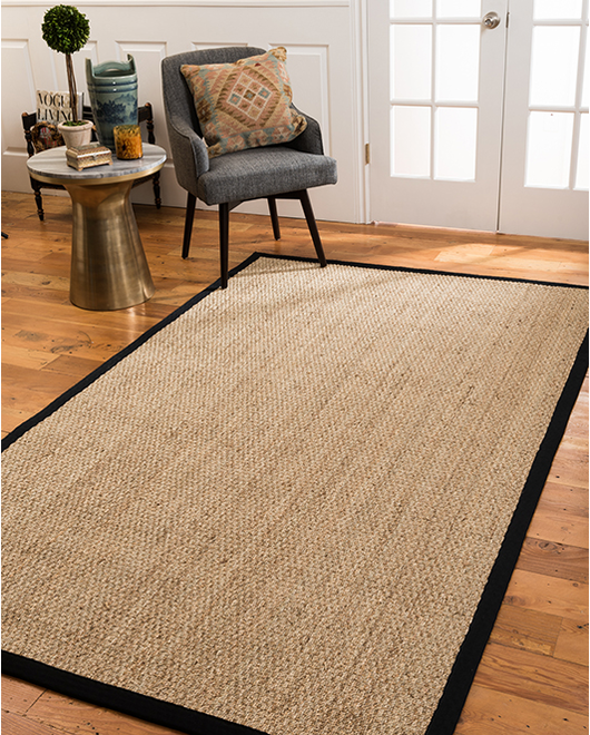 Maritime Natural Seagrass Rug, Black w/ FREE Rug Pad