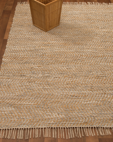 Moreno Jute Leather Rug w/ FREE Rug Pad